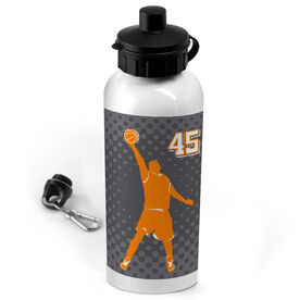 Basketball 20 oz. Stainless Steel Water Bottle Personalized Basketball Guy with Dots Background