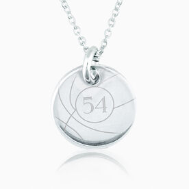 Sterling Silver 20mm Circle Necklace Basketball Number
