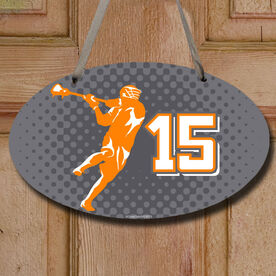 Lacrosse Oval Room Sign Personalized Lacrosse Guy with Dots Background