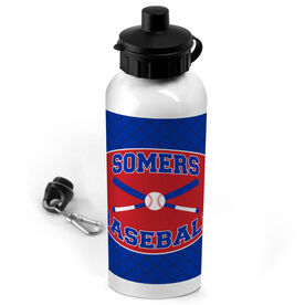 Baseball 20 oz. Stainless Steel Water Bottle Personalized Baseball Team with Crossed Bats