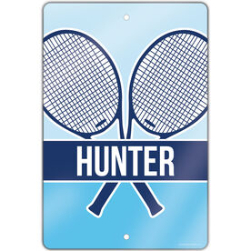 """Tennis Aluminum Room Sign Personalized 2 Tier Crossed Tennis Rackets (18"""" x 12"""")"""