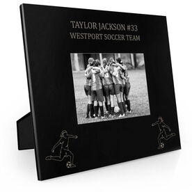 Soccer Engraved Picture Frame - Two Girl Players