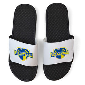 Volleyball White Slide Sandals - Your Logo