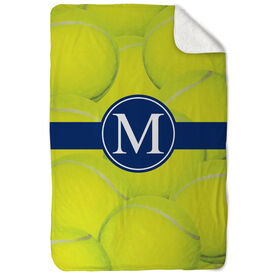 Tennis Sherpa Fleece Blanket Personalized Ball Background with Monogram