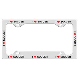 I Love Soccer License Plate Holder