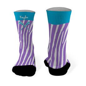 Girls Lacrosse Printed Mid Calf Socks Personalized Zebra Pattern with Lacrosse Sticks