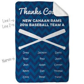 Baseball Sherpa Fleece Blanket Personalized Thanks Coach Chevron