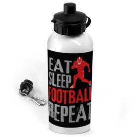 Football 20 oz. Stainless Steel Water Bottle Eat Sleep Football Repeat