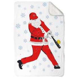 Softball Sherpa Fleece Blanket Homerun Santa