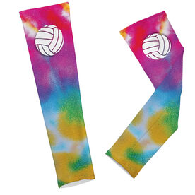 Volleyball Printed Arm Sleeves Tie Dye Pattern with Volleyball