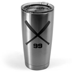 Baseball 20 oz. Double Insulated Tumbler - Personalized Crossed Bats