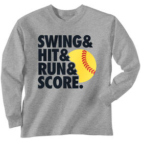 Softball T-Shirt Long Sleeve Swing & Hit & Run & Score