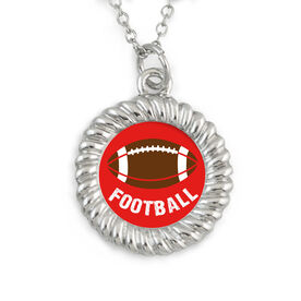 Braided Circle Necklace Football with Word