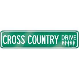 "Cross Country Aluminum Room Sign Cross Country Drive (4""x18"")"