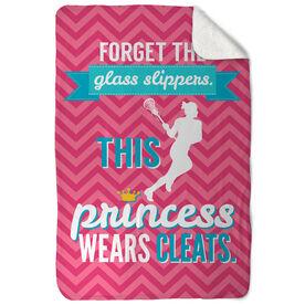Girls Lacrosse Sherpa Fleece Blanket This Princess Wears Cleats
