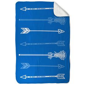 Girls Lacrosse Sherpa Fleece Blanket Lacrosse Arrows