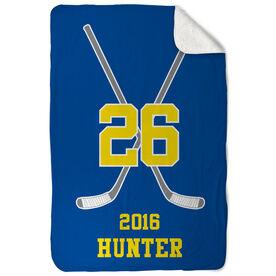 Hockey Sherpa Fleece Blanket Personalized Player Crossed Sticks
