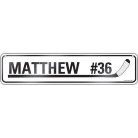"Hockey Aluminum Room Sign Personalized Hockey Name Number (4""x18"")"