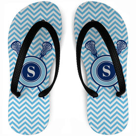 Girls Lacrosse Flip Flops Single Letter Monogram with Crossed Sticks and Chevron