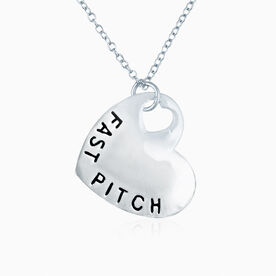 Sport Heart - Fast Pitch Softball Silver Necklace