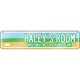 "Softball Aluminum Room Sign Personalized Softball Room (4""x18"")"