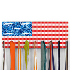 Swimming Hooked on Medals Hanger - American Flag