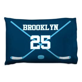 Hockey Pillowcase - Personalized Player Crossed Sticks
