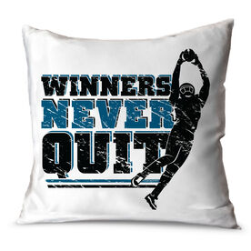 "Football Throw Pillow 15"" x 15"" Football Pillow Winners Never Quit"