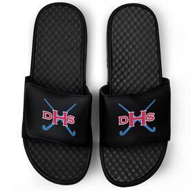 Field Hockey Black Slide Sandals - Monogram with Field Hockey Sticks