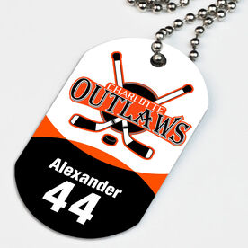 Hockey Printed Dog Tag Necklace Custom Hockey Team Logo