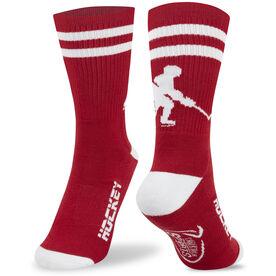 Hockey Woven Mid Calf Socks - Player (Red/White)