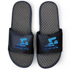Swimming Navy Slide Sandals - Swim Icon