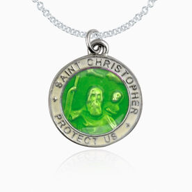 St. Christopher Lacrosse Player Guardian Medal Necklace (2.3cm) (Green with White Trim)