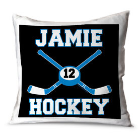 Hockey Throw Pillow Personalized Hockey Sticks And Puck