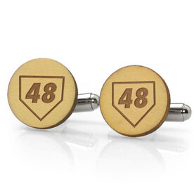 Baseball Engraved Wood Cufflinks Home Plate