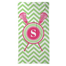 Lacrosse Beach Towel Single Letter Monogram with Crossed Sticks and Chevron