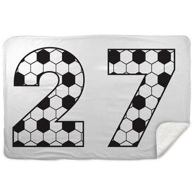 Soccer Sherpa Fleece Blanket Custom Soccer Numbers
