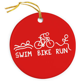 Triathlon Porcelain Ornament Swim Bike Run (Male)