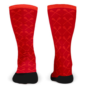 Customized Printed Mid Calf Team Socks Guys Lacrosse Sticks Pattern