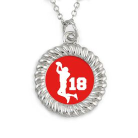 Braided Circle Necklace Custom Team Color Football Pass with Your Number