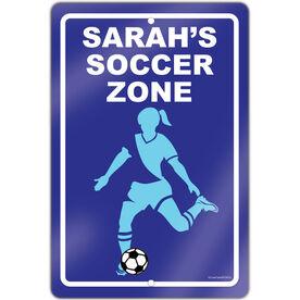 """Soccer Aluminum Room Sign Soccer Zone Girl (18"""" X 12"""")"""