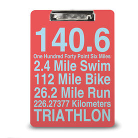 Triathlon Custom Clipboard 140.6 Math Miles