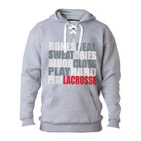 Guys Lacrosse Sport Lace Sweatshirt - Bones Saying