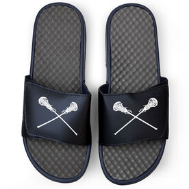Girls Lacrosse Navy Slide Sandals - Crossed Sticks