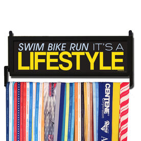 TriathletesWALL Swim Bike Run It's A Lifestyle Medal Display