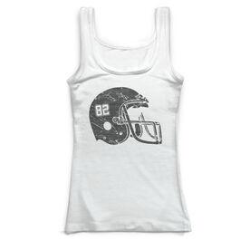 Football Vintage Fitted Tank Top - Number Helmet