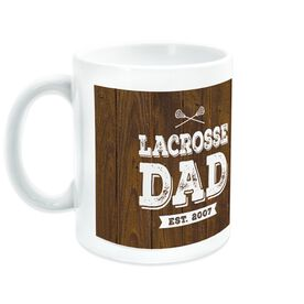 Lacrosse Ceramic Mug Dad With Wood Background