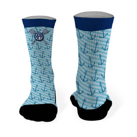 Girls Lacrosse Printed Mid Calf Socks Personalized Monogram with Crossed Sticks and Anchor Pattern