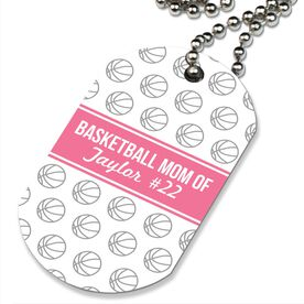 Basketball Printed Dog Tag Necklace Personalized Basketball Mom Of