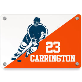 Hockey Metal Wall Art Panel - Personalized Guy Hockey Silhouette